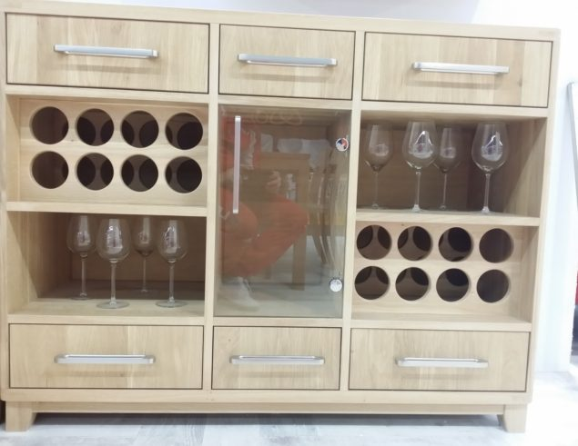 Solid oak wine cabinet 15 wine bottles rack