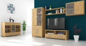 Solid oak living room furniture set Soligna
